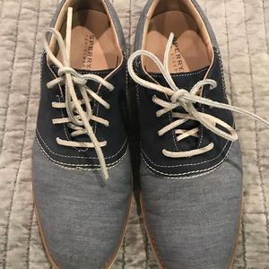 Speedy top sided men's shoes . Blue and gray